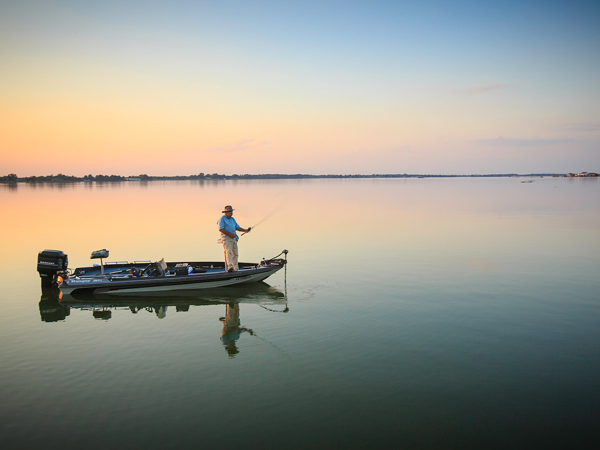 Fishing on Poverty Point Reservoir State Park in Louisiana