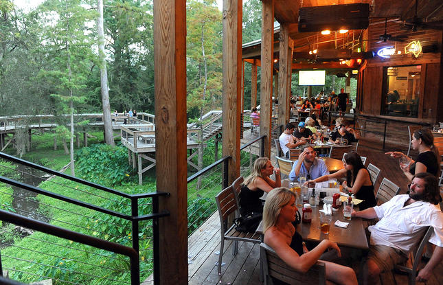 Chimes Restaurant in Covington has decks overlooking the Bogue Falaya River.