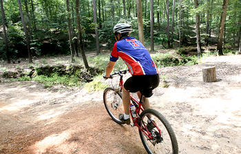 Mountain biker on trail in Louisiana