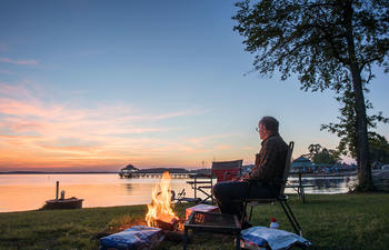 Cypress Bend Park camping at sunset on Toledo Bend Reservoir Louisiana
