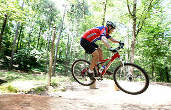 Mountain biker on nature trail