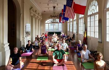 Yoga practice at the Cabildo