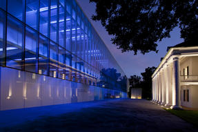 Paul and Lulu Hilliard University Art Museum at Night. Photo by Philip Gould. Photo