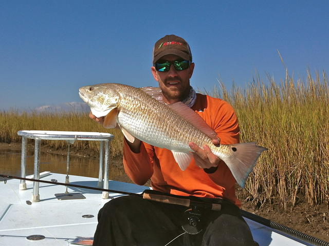 Brandon fly-fished this Buras Redfish