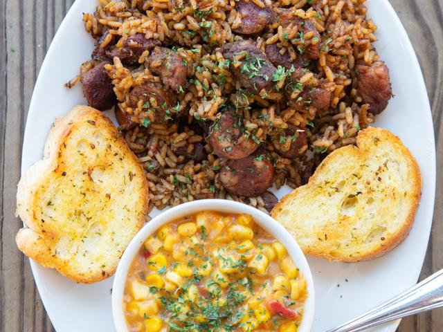 Jambalaya Plate with Corn Maque Choux & French Bread Photo 3