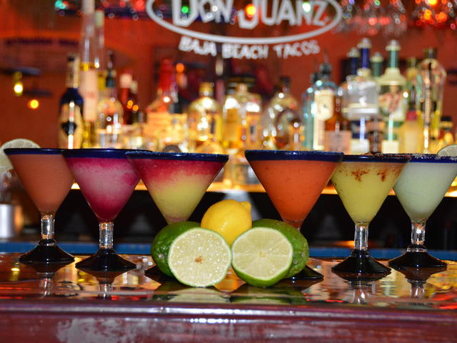 All natural fruit frozen margaritas.  Happy hour SUN-THUR 4:30 to 6:30,  FRI & SAT 4:30 to 10pm