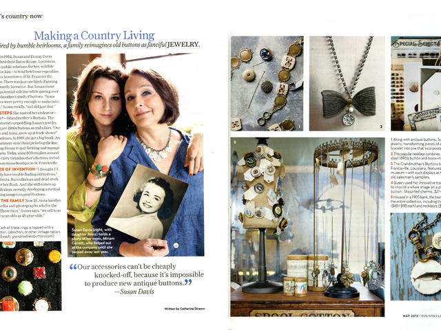 Country Living Magazine featured our store in the May 2013 issue