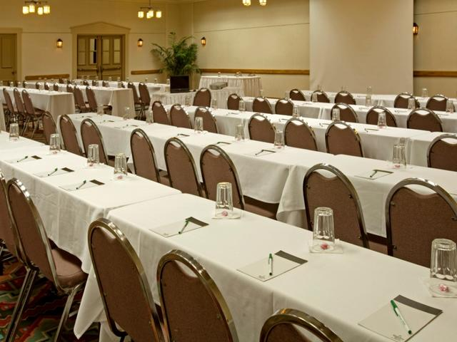 13 different meeting room with over 11,000 square feet of space.  Can accommodate up to 400 guest.