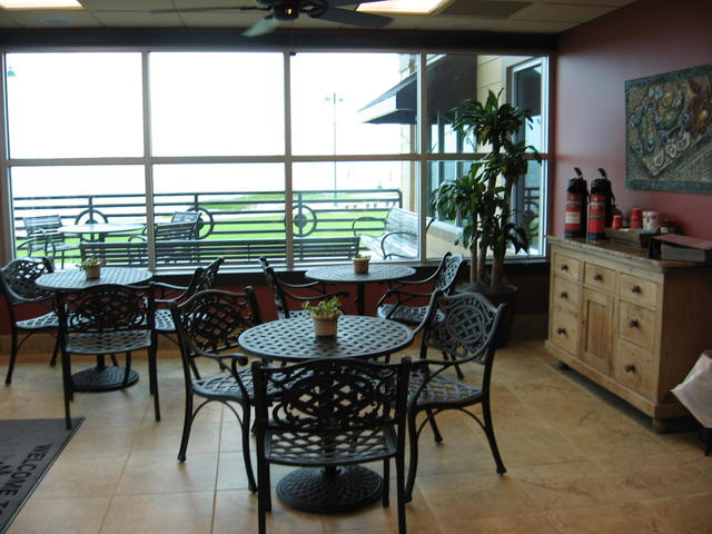 Cafe seating area at the welcome center in Lake Charles, LA.