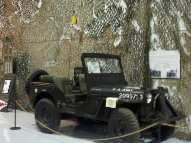 A military vehicle on display inside the Louisiana Military Hall of Fame and Museum.