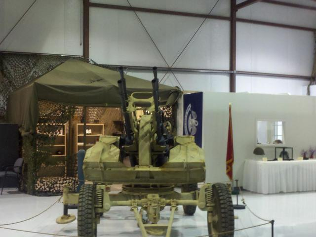 The museum features many military artifacts and vehicles.