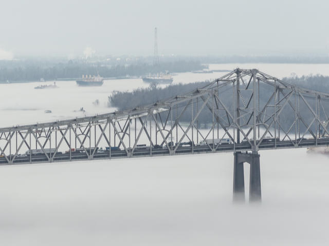 Foggy morning on the Mississippi River