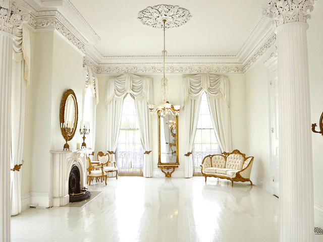The Mansion's famous White Ballroom