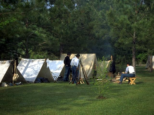 Authentic encampment during the annual Battle of Port Hudson re-enactment. Photo