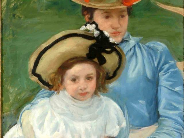"""Mother and Daughter, Both Wearing Large Hats"" by Mary Cassatt"