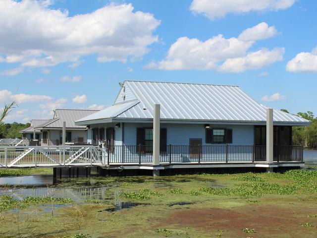 Floating cabins at Bayou Segnette State Park Photo