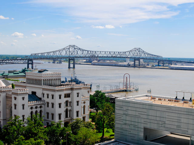 The Old State Captiol and Shaw Center for the Arts overlooking the Mississippi River.
