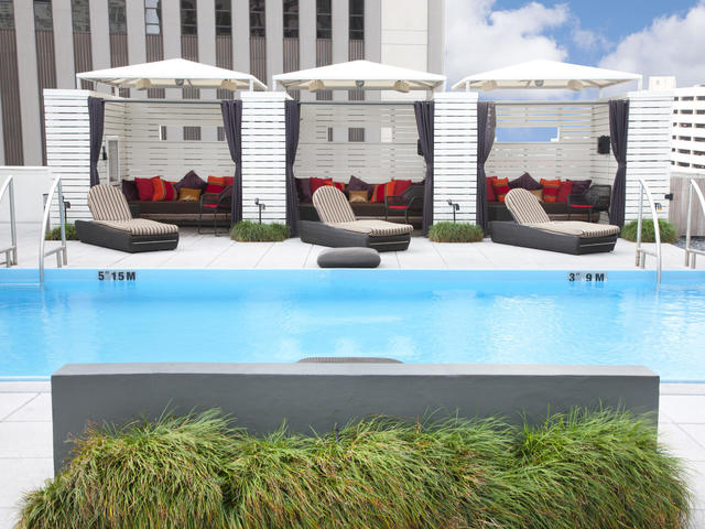 Escape to our rooftop WET deck and retreat to a poolside cabana.