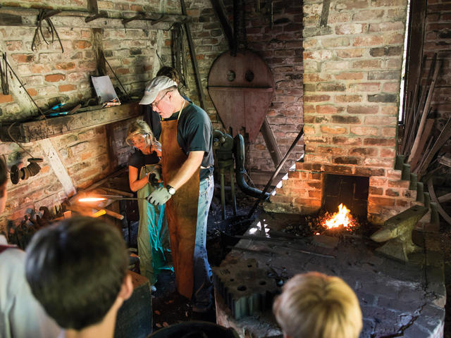 A blacksmith demonstration at LSU Rural Life Museum