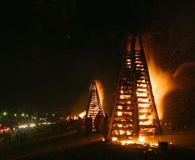 Burning bonfires is a Cajun Christmas tradition in Louisiana.